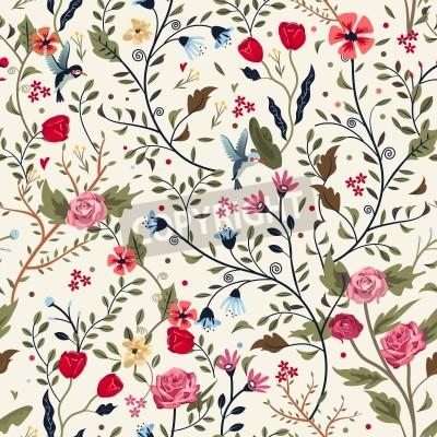 Adesivo colorido padrão floral sem emenda adorável sobre o fundo bege