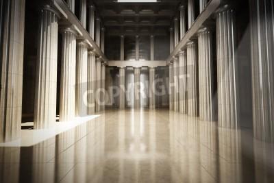 Adesivo Coluna interior sala vazia, a lei ou o fundo do governo conceito, cena modelo 3d