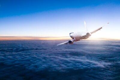 Adesivo Comercial, jato, avião, voando, acima, nuvens