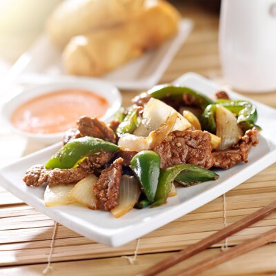 Adesivo Comida chinesa - Pimenta carne no restaurante
