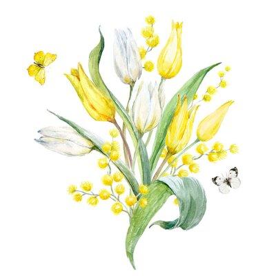 Adesivo Composição da tulipa aquarela