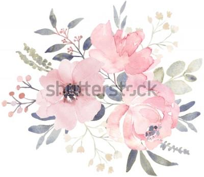 Adesivo Composição de buquê decorada com flores em aquarela rosa empoeiradas e vegetação de eucalipto