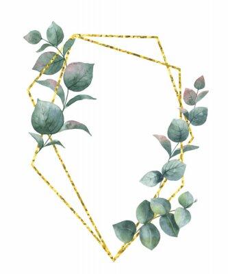 Adesivo Composição do vetor aquarela dos ramos do eucalipto e do quadro geométrico de ouro.