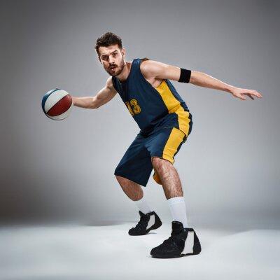 Adesivo Comprimento, comprimento, retrato, basquetebol, jogador, bola