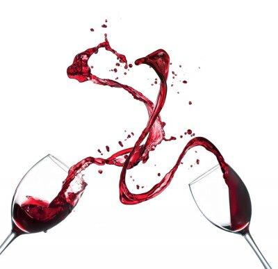 Adesivo Conceito de pingos de vinho tinto de vidros no fundo branco