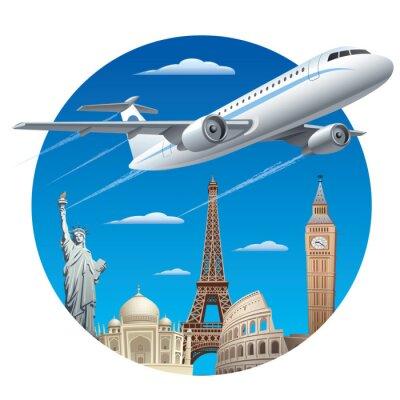 Adesivo conceito de viagens aéreas