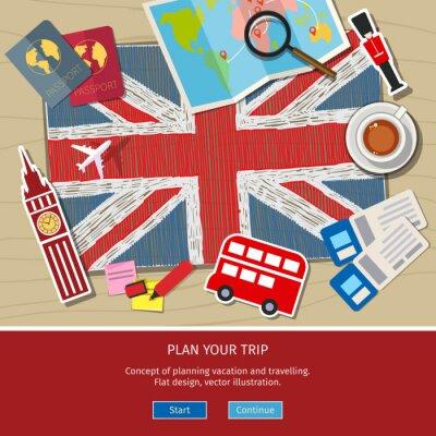 Adesivo Conceito de viajar ou estudar inglês.