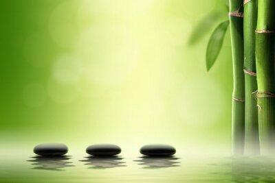 Adesivo Conceito Zen. Pedras pretas dos termas na floresta de bambu.