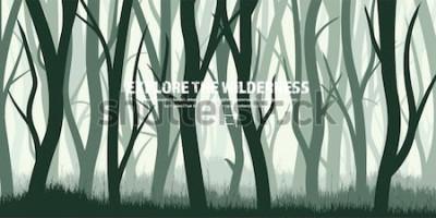 Adesivo Conjunto de árvores. Floresta selvagem do pinho, fundo da natureza. Ilustração de Wood.Vector. Árvore verde escura. Landscape.Grass, prado.