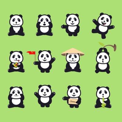 Adesivo conjunto de bonito pandas engraçadas dos desenhos animados. Ilustração do vetor