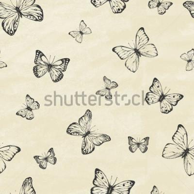 Adesivo Conjunto de borboletas de mão desenhada. Coleção entomológica de desenhos animados separados. Estilo retrô vintage. Ilustração sem ação Ilustração vetorial.