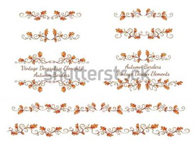 Adesivo Conjunto de bordas de mão desenhada com folhas de outono