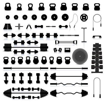 Adesivo Conjunto de equipamentos esportivos, ilustração vetorial.