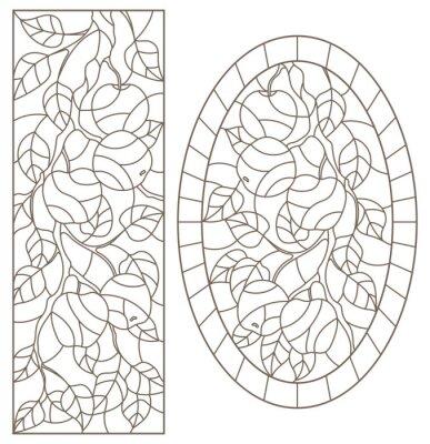 Adesivo Conjunto de ilustrações de contorno de vitrais do Windows com galhos de árvores, galho de árvore de maçã, contornos escuros sobre fundo branco, imagens retangulares e ovais
