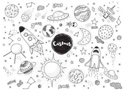Adesivo Conjunto de objetos cósmicos. Doodles desenhados mão do vetor. Rockets, planetas, constelações, ufo, estrelas, etc. Tema do espaço.