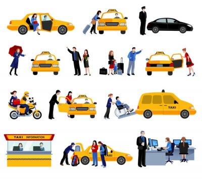 Adesivo Conjunto, táxi, serviço, ícones