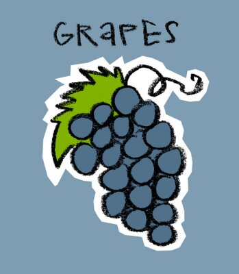 Adesivo Conjunto, uvas, azul, fundo