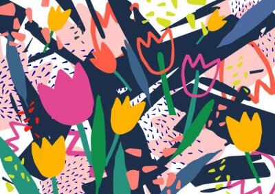 Adesivo Contexto horizontal criativo com flores da tulipa e manchas abstratas coloridas e garrancho. Fundo decorativo colorido brilhante. Ilustração artística na moda do vetor no estilo da arte contemporânea.