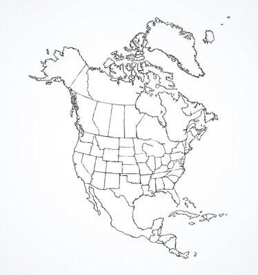 Adesivo Continente norte-americano com contornos de países. Desenho vetorial