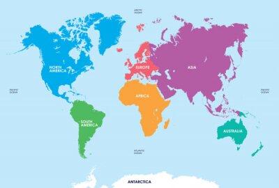 Adesivo Continentes do mundo, mapa