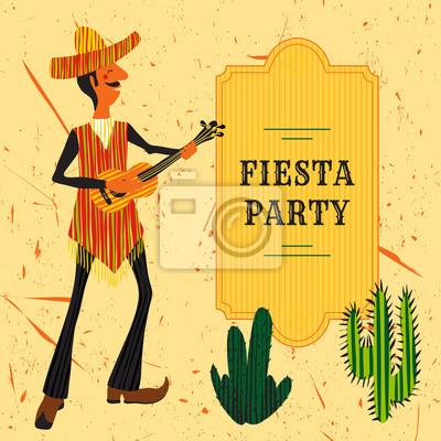Adesivo Convite mexicano do partido da festa com o homem mexicano que joga  a guitarra em 0ca7cfeafa0