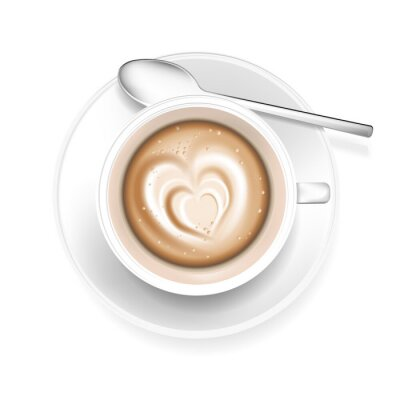 Adesivo Copo, café, Coração, forma, espuma