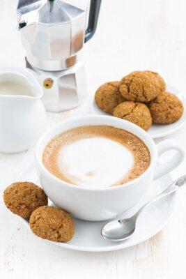 Adesivo Copo, cappuccino, macaroons, branca, madeira, tabela
