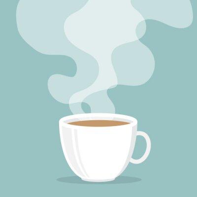 Adesivo Copo de café com fumo flutuar para cima
