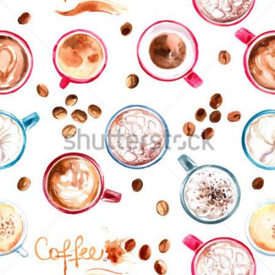 Adesivo Copo de café do teste padrão pintado com aquarelas no fundo branco. Uma bebida e os doces. Manchas de aquarela abstratas, vestígios de café.