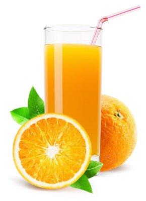 Adesivo Copo de suco de laranja isolado no fundo branco