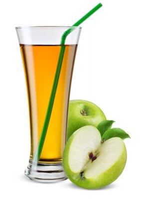 Adesivo Copo de suco de maçã com frutas isolado no branco.