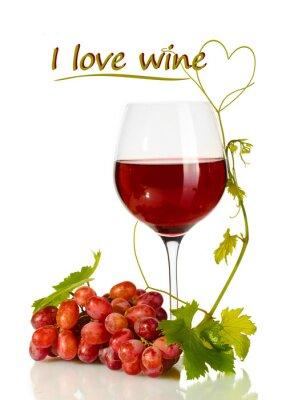 Adesivo Copo de vinho e uvas maduras e vinho Eu amo o texto isolado