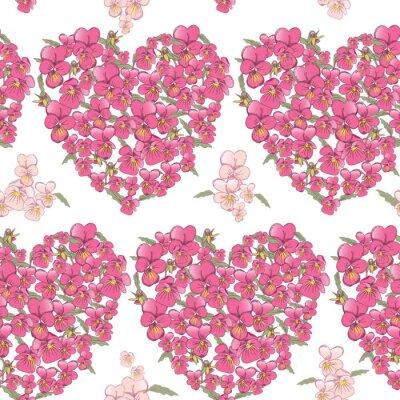 Adesivo Coração cor-de-rosa dos pansies em um fundo branco. Fundo sem emenda