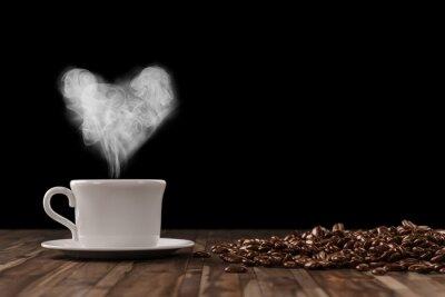 Adesivo Coração de vapor durante o café
