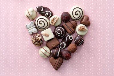 Adesivo Coração dos doces de chocolate