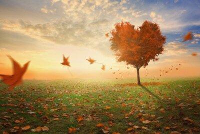 Adesivo Coração em forma de árvore que cai em queda