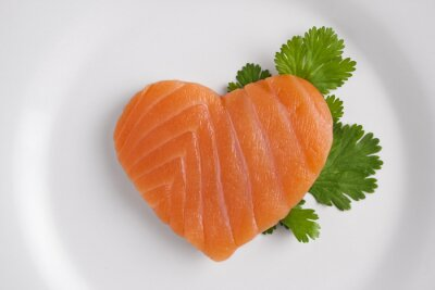 Adesivo Coração em forma de salmão na placa branca