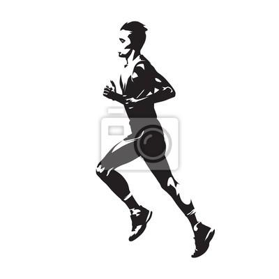 corredor de vetores correndo jovem atleta vista lateral silhueta