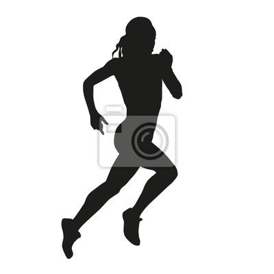 correndo silhueta da mulher laptop adesivos adesivos para a parede