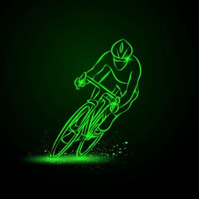 Adesivo Corrida de ciclismo. Vista frontal. Ilustração do néon do vetor.