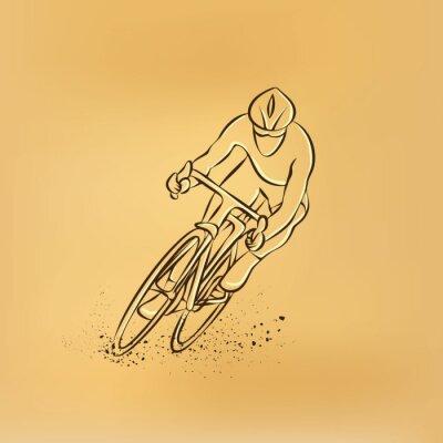 Adesivo Corrida de ciclismo. Vista frontal. Ilustração retro do desenho do vetor.