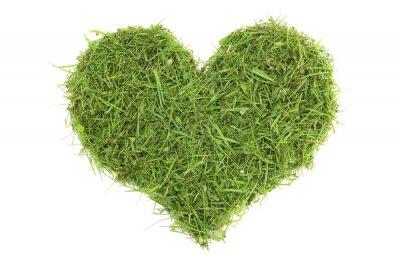 Adesivo Cortes de grama em uma forma do coração