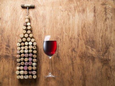 Adesivo Cortiça do vinho na forma da garrafa de vinho.
