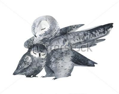 Adesivo Coruja e uma técnica de bebê-aquarela. Animais da floresta. Ilustração realística pintado à mão isolated no fundo branco. Cartão do dia das mães feito à mão.
