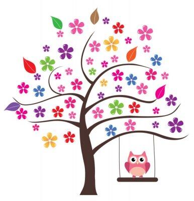 Adesivo Coruja na árvore