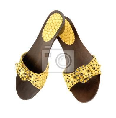 00a348fa78 Couro de cobra cunha de madeira sandálias amarelas laptop adesivos ...