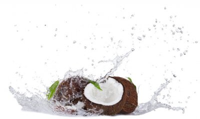 Adesivo Cracked coconuts in water splash on white
