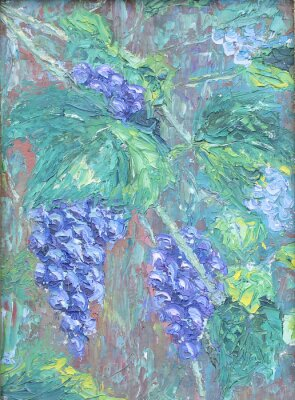 Adesivo Crescendo uvas, pintura a óleo