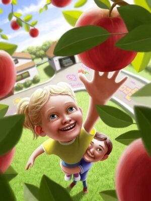 Adesivo Crianças, alcançar, maçã