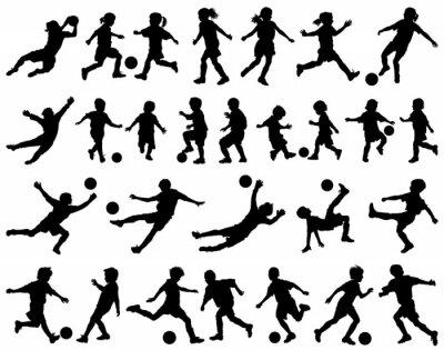 Adesivo Crianças brincando silhuetas vetor de futebol